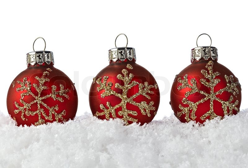 Three red christmas ornaments with golden glitter