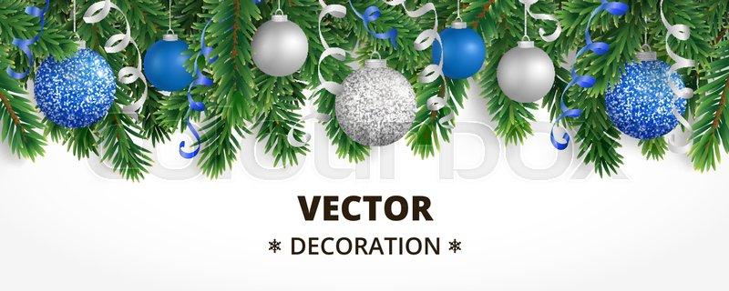 horizontal banner with christmas tree garland and