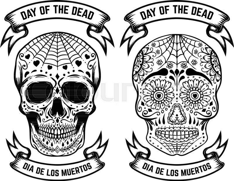 day of the dead dia de los muertos set of the sugar skulls design