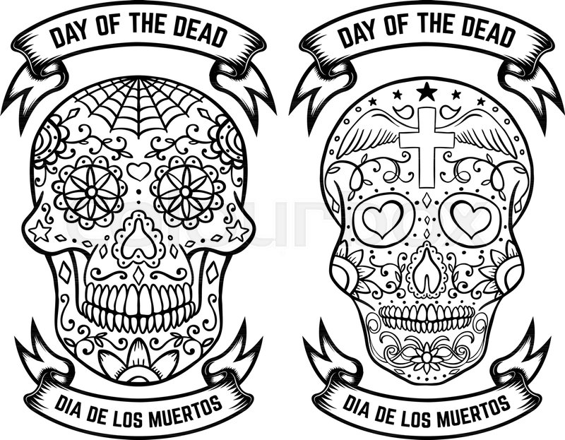 Day of the dead dia de los muertos set of the sugar skulls design day of the dead dia de los muertos set of the sugar skulls design elements for poster greeting card banner vector illustration stock vector m4hsunfo