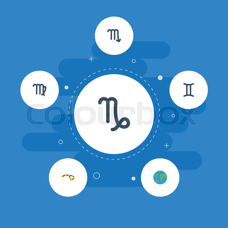 Flat Icons Twins Zodiac Sign Horoscope And Other Vector Elements
