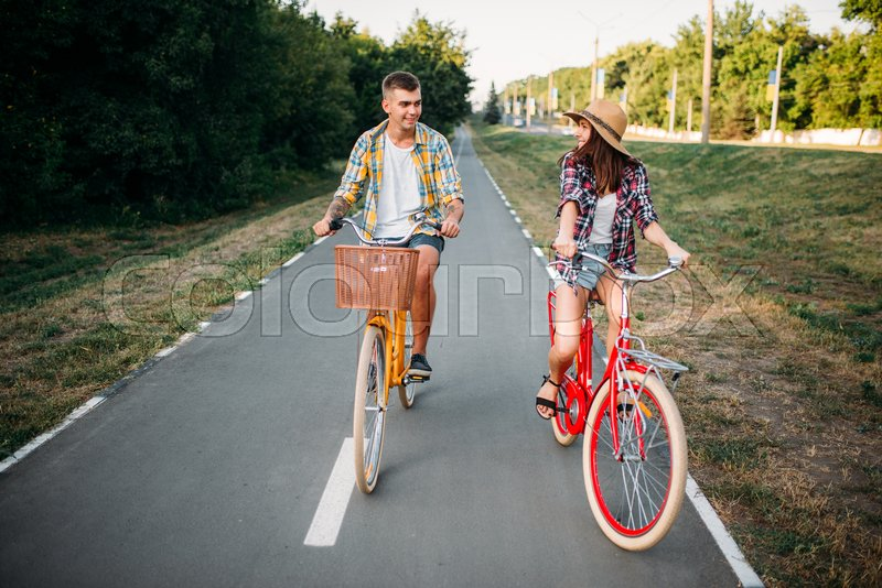 Smiling Love Couple Riding On Retro Stock Photo Colourbox