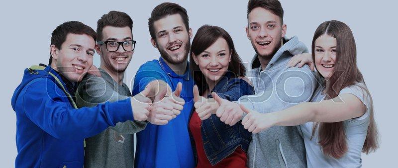 Happy joyful group of friends cheering isolated on white background, stock photo