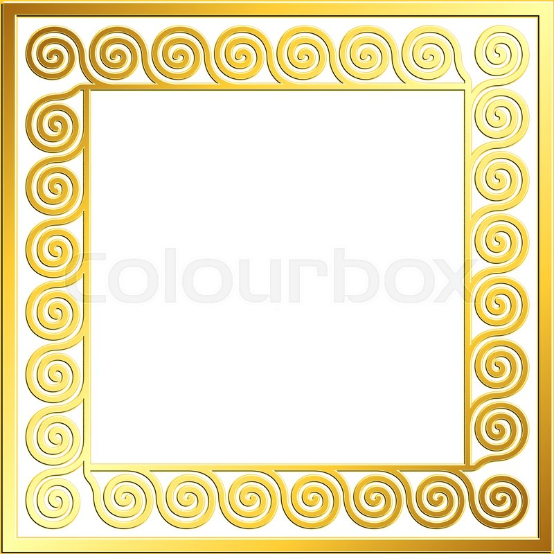 652973ac6c0b Stock vector of  Square frame with traditional vintage Golden Greek ornament