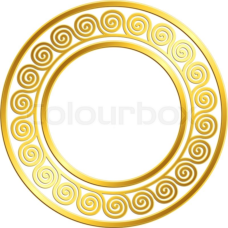 6828c1a63a03 Stock vector of  Round frame with traditional vintage Golden Greek ornament