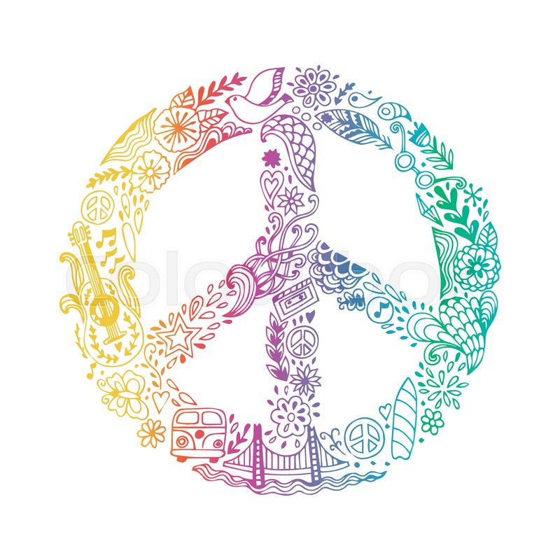 Vector Peace Symbol Made Of Hippie Theme Doodle Handdrawn Icons
