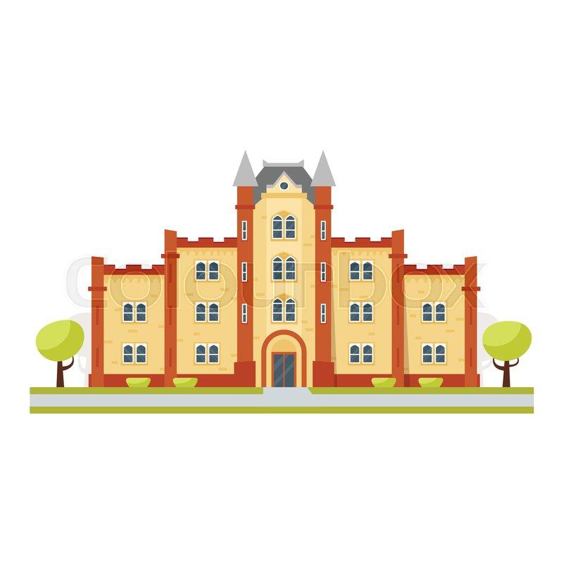 Cartoon Building Facade College High Resolution Stock ...  |Brown University Building Cartoon