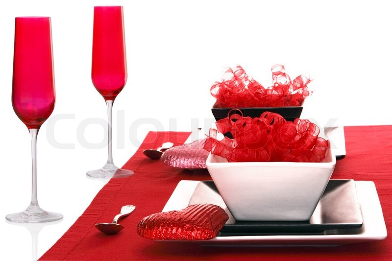 Isolated Romantic Modern Black & White Table Setting ~ Red Champagne ...