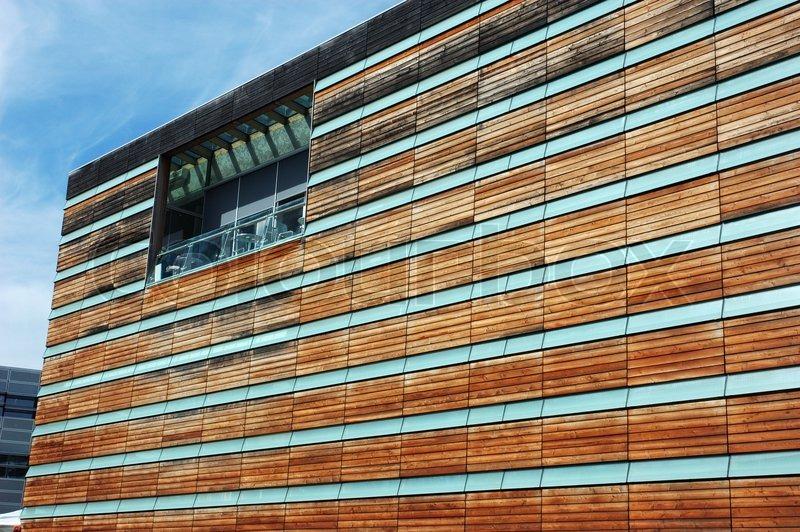 Wooden Facade of a modern Office Building | Stock Photo | Colourbox
