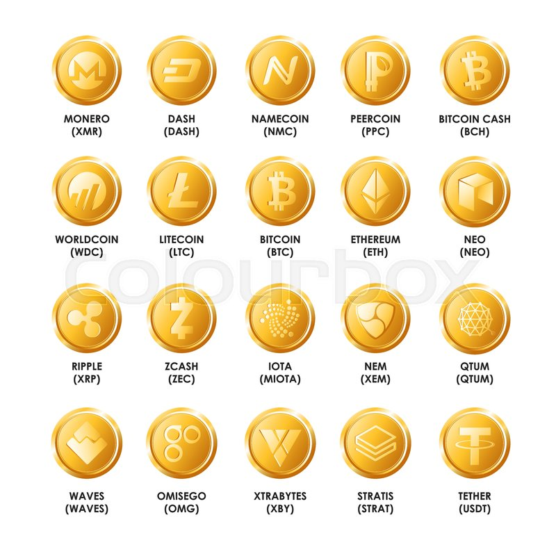 Bitcoin Cryptocurrency Golden Coins Icons Vector Isolated Symbols