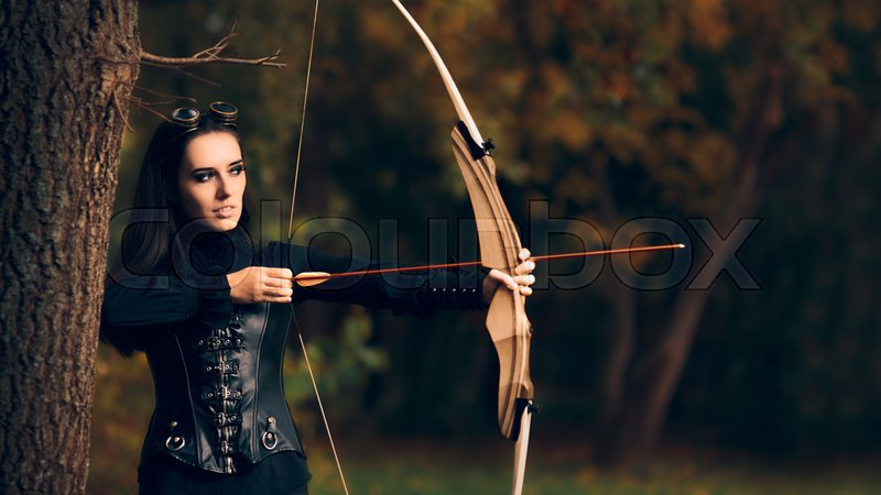 Female Archer Warrior in Costume with Bow and Arrow, stock photo