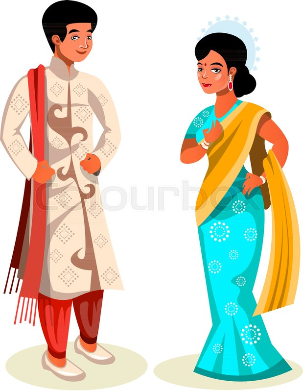 19bd341bed Indian couple in traditional dress. ...   Stock vector   Colourbox