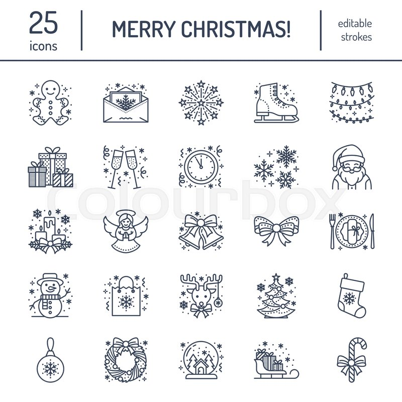 Christmas, new year flat line icons. Winter holidays - christmas tree gift, snowman, santa claus, fireworks, angel. Vector illustration, signs for celebration xmas party, vector