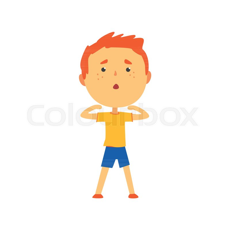 Redhead Boy Doing Sport Exercise Kids Stock Vector Colourbox