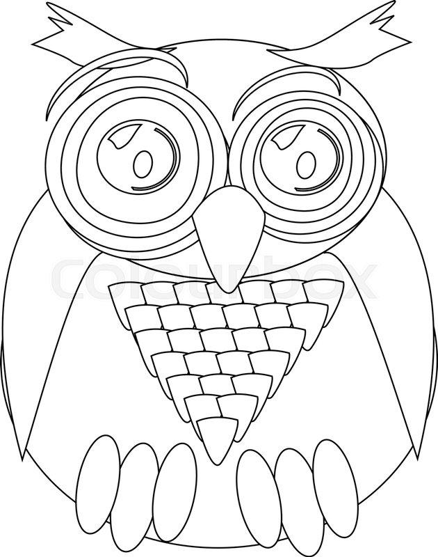 Coloring Book Line Artwork Owl Vector
