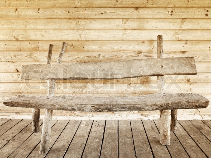Superb Old Wooden Bench Against Wooden Wall Stock Image Colourbox Onthecornerstone Fun Painted Chair Ideas Images Onthecornerstoneorg