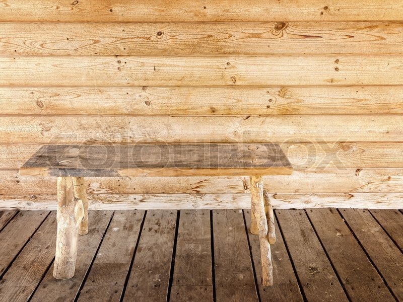 Astounding Old Wooden Bench Against Wooden Wall Stock Image Colourbox Onthecornerstone Fun Painted Chair Ideas Images Onthecornerstoneorg