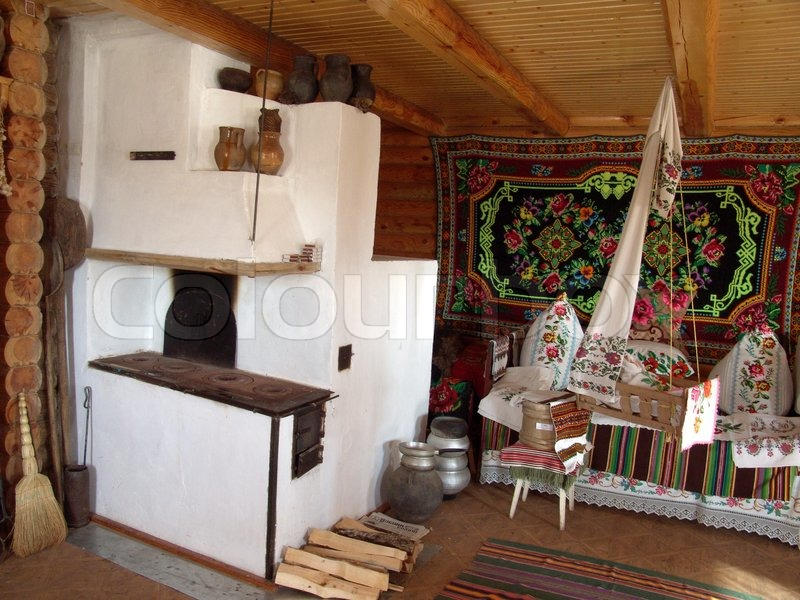 Interior In The Ancient House The Typical Ukrainian