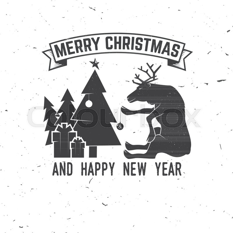 merry christmas and happy new year 2018 retro template with christmas tree gifts and reindeer vector illustration xmas design for congratulation cards