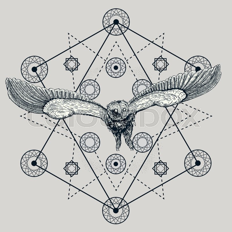 drawing of a flying owl with spread wings in a dreamcatcher mystical graphic illustration with many details geometry and feathers on the background