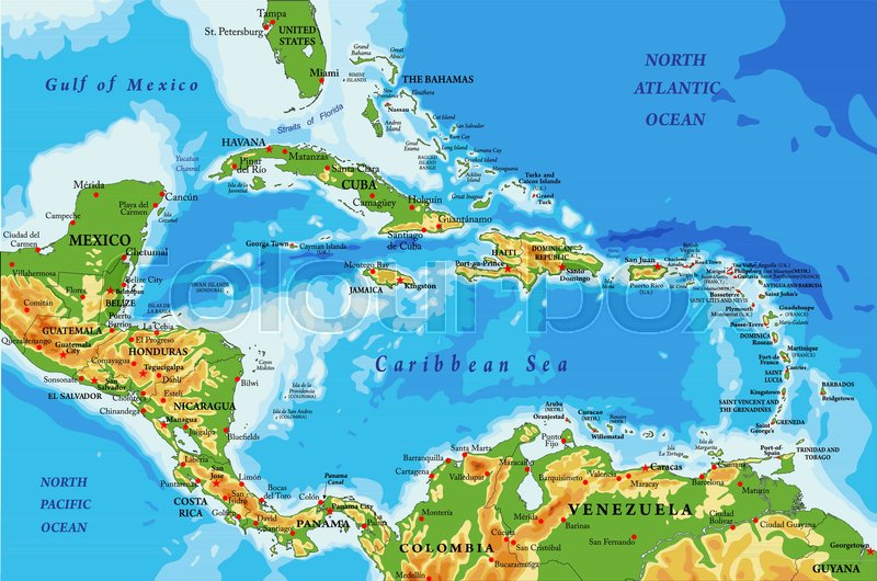 Highly detailed physical map of Central America and Caribbean