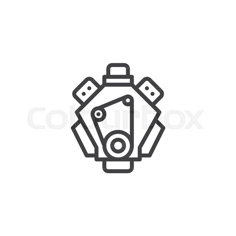 Car Engine Line Icon Outline Vector Sign Linear Style Pictogram