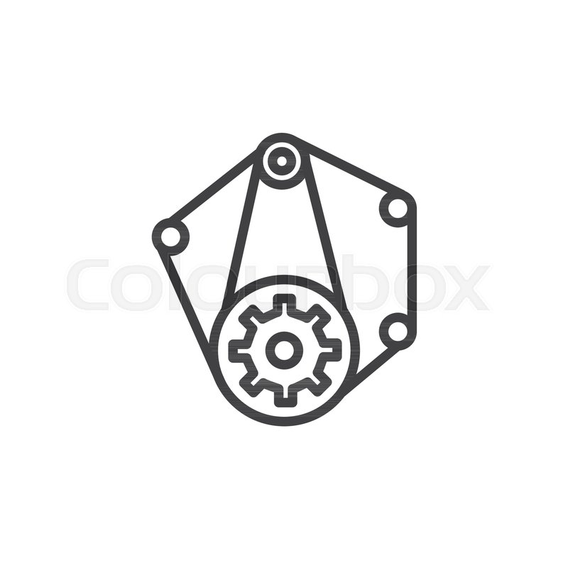 Car Engine Belt Line Icon Outline Vector Sign Linear Style