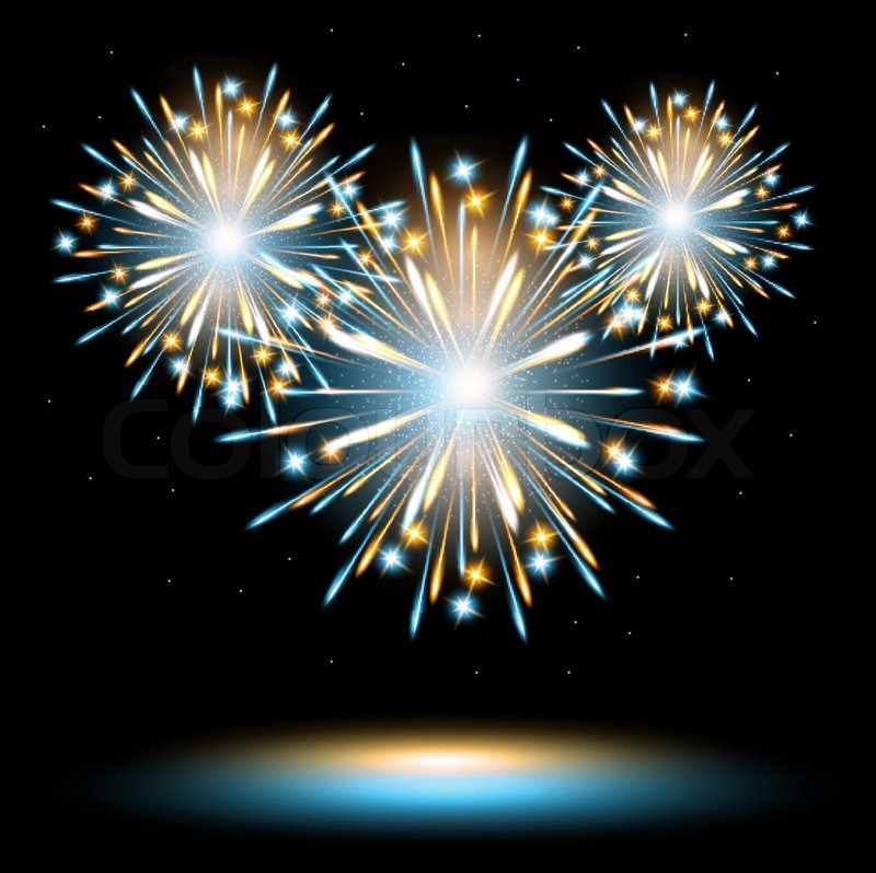 fireworks explosion glow blue gold stock vector colourbox
