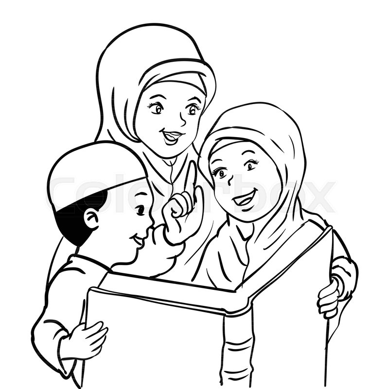 Cartoon Muslim Mother With Son And Stock Vector Colourbox