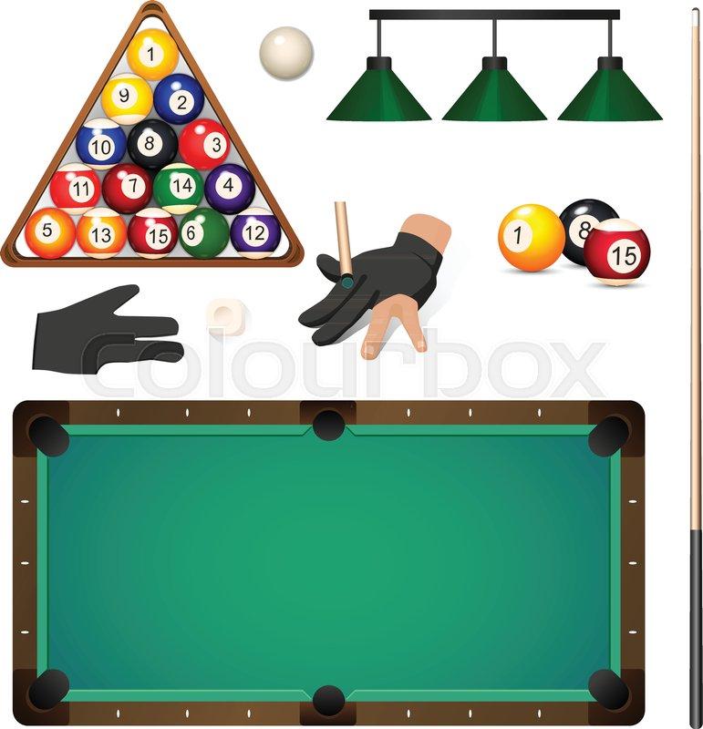 Rack Em Billiard Ball Pool Table Light: Set Of Pool, Billiard, Snooker Objects ...