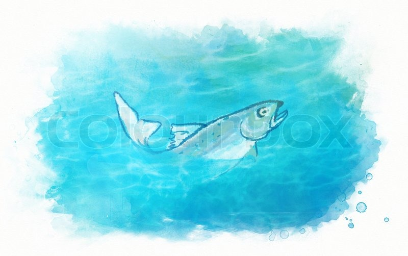 Watercolor illustration of fish in the sea water stock for Fish out of water watercolor