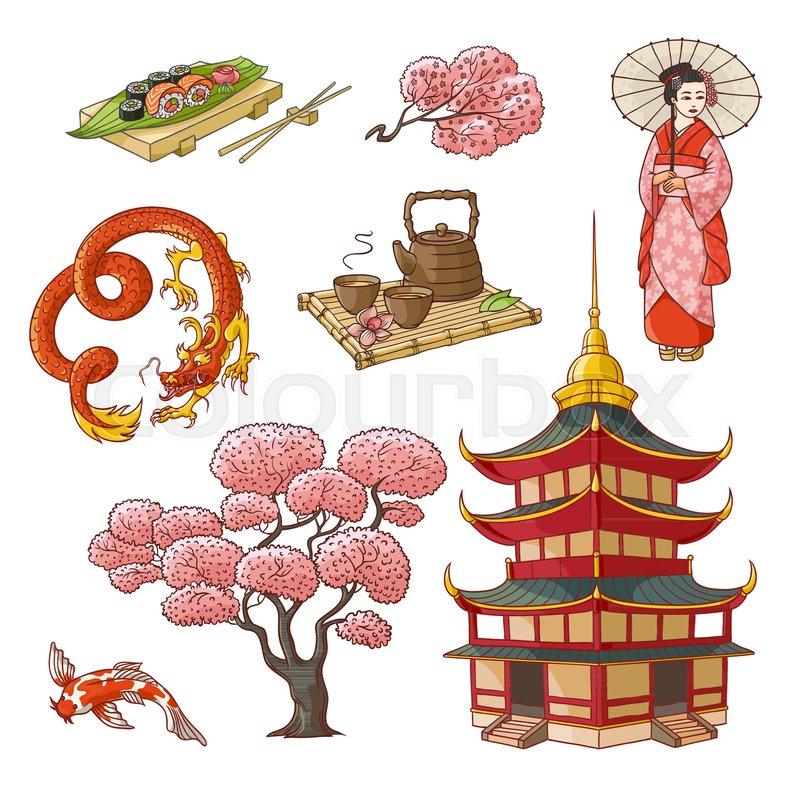 Set of Japanese culture elements - geisha, sakura, koi ...