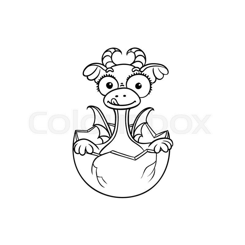 Vector flat cartoon funny dragon