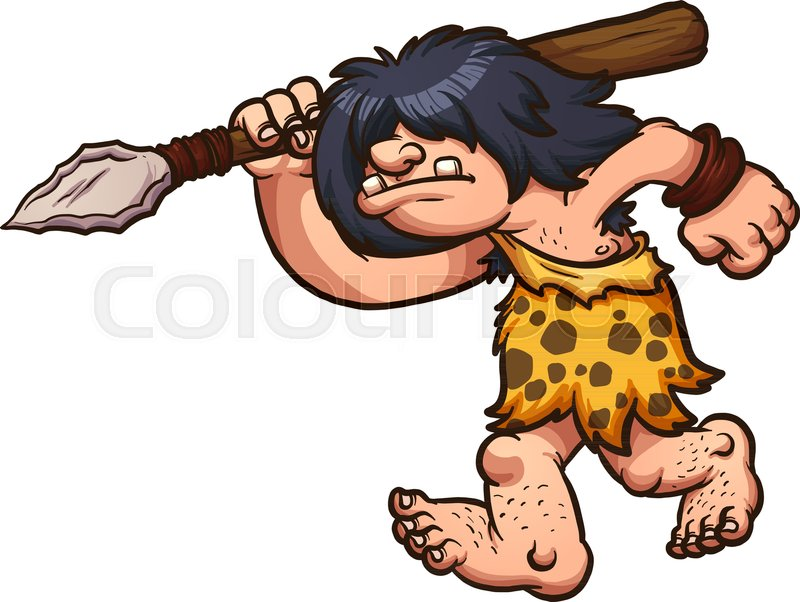 hunting caveman wielding a spear vector clip art illustration with rh colourbox com caveman clipart gif caveman clipart png