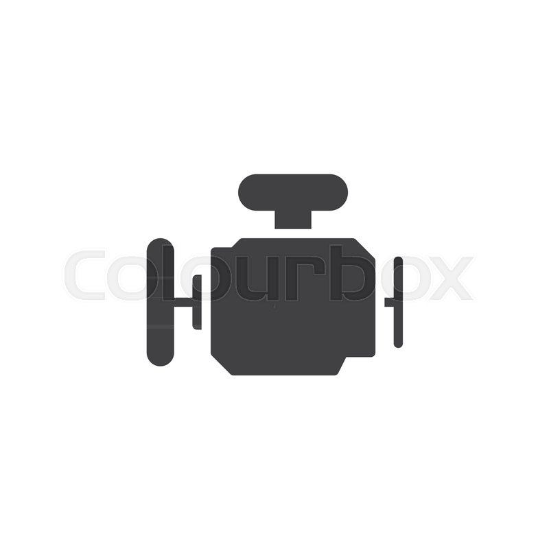Car Engine Icon Vector Filled Flat Sign Solid Pictogram Isolated