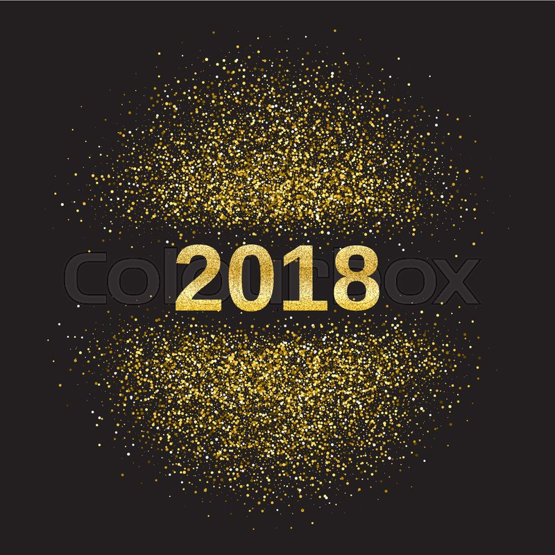gold glitter happy new year 2018 background glittering texture
