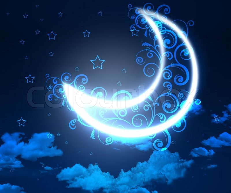 dark blue night sky background with moon and twinkling