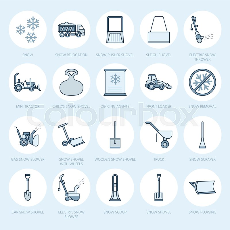 Snow removal flat line icons. Ice relocation service signs. Cold ...