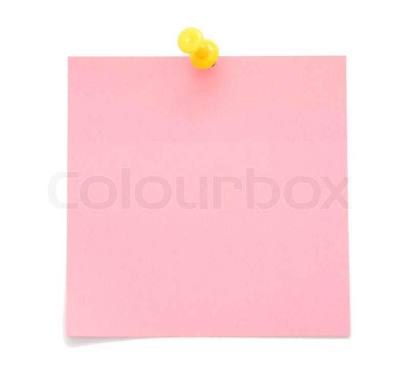 Blank Pink Post It Note Isolated On White Background Stock Photo Colourbox