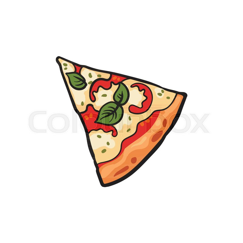 Stock Vector Of Flat Margarita Pizza Slice With Pepper Tomatos And Cheese