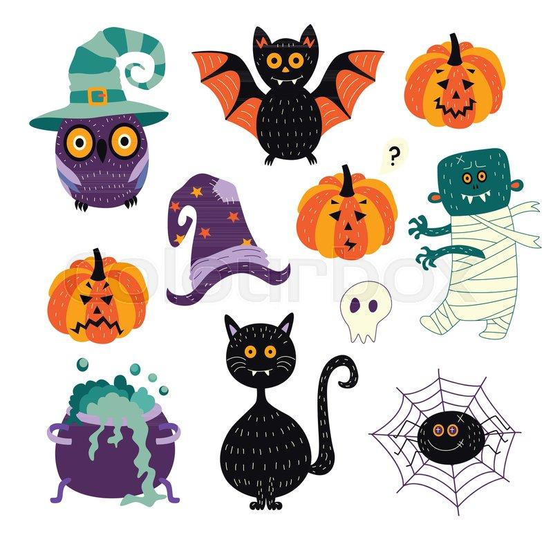 Vector Flat Cartoon Halloween Autumn Holiday Symbols Set Black Cat