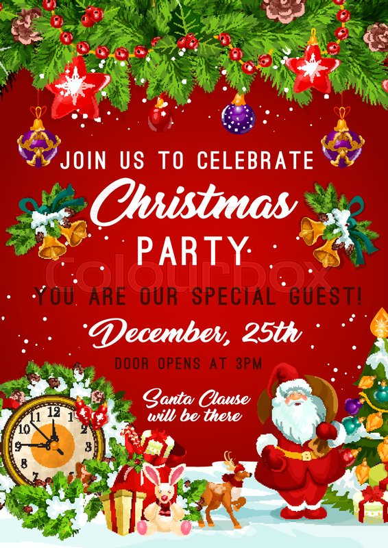 christmas party invitation poster design template of christmas tree santa gifts and new year bell and star decorations on red background
