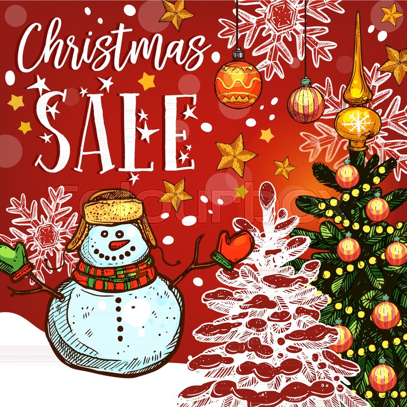 christmas sale banner of winter holidays discount offer christmas tree with star snowflake and ball snowman and xmas lights for new year and xmas