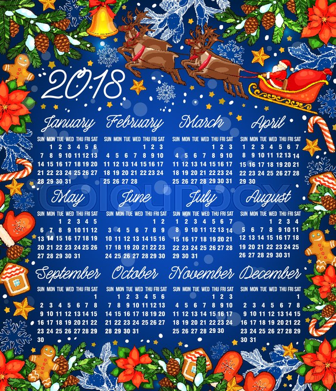 Christmas Holiday Calendar Template  Year Calendar With Frame
