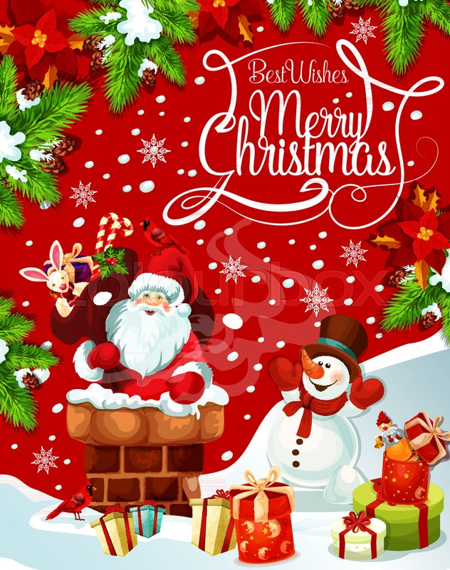 Merry christmas greeting card of santa in chimney gift bag and merry christmas greeting card of santa in chimney gift bag and snowman at christmas tree on sleigh vector xmas wreath decoration and snowflakes for new m4hsunfo