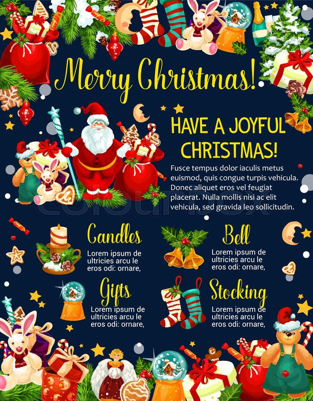Merry Christmas winter holidays wishes on greeting card design ...