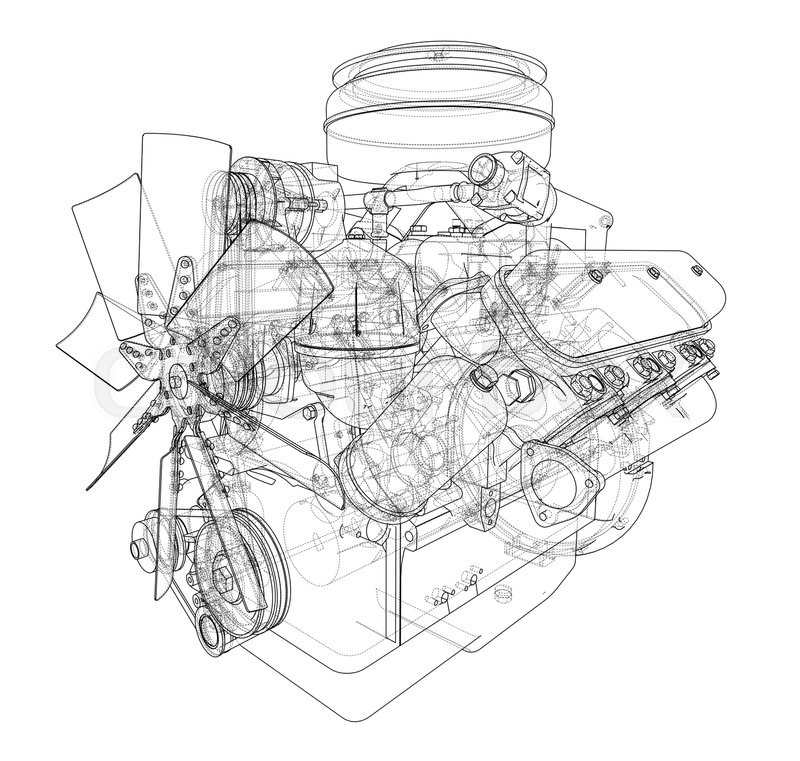 engine sketch  vector rendering of 3d  wire