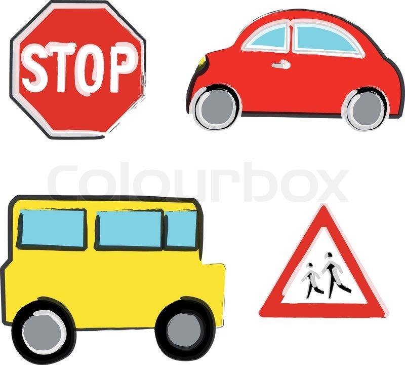 School Bus Stop Sign Vector