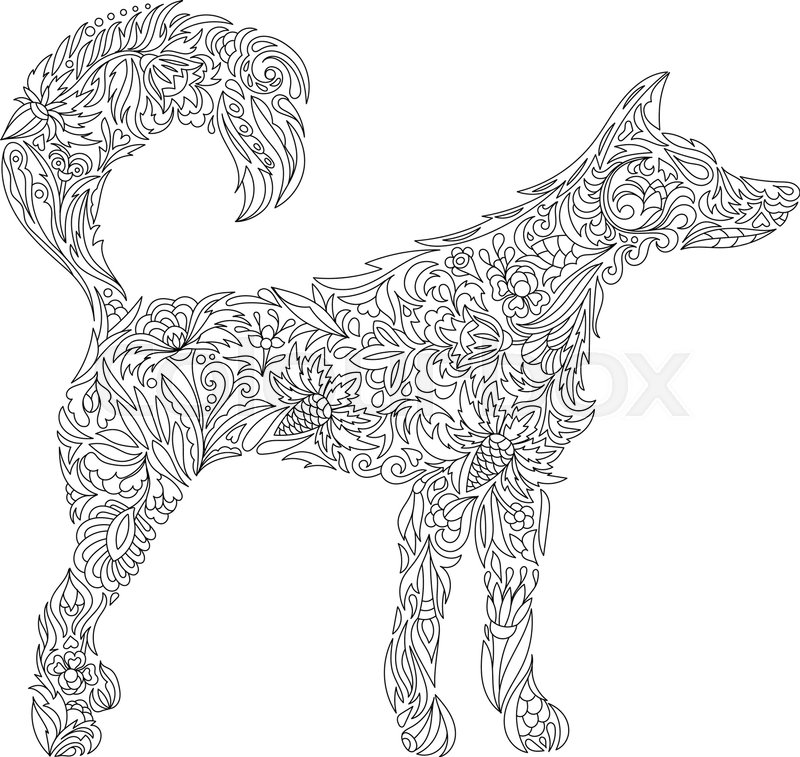 Stylized Dog Freehand Sketch With For Adult Anti Stress Coloring Book Page Doodle And Zentangle Elements Animals