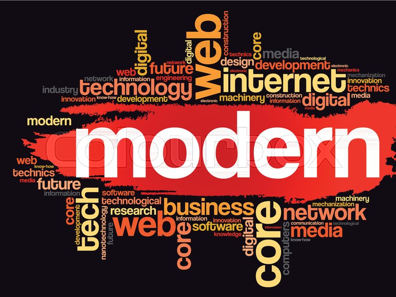 modern word cloud technology business concept background stock